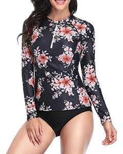 Daci Women Pink Flower Rash Guard Long Sleeve Zipper Bathing Suit with Built in Bra Swimsuit UPF 50 S