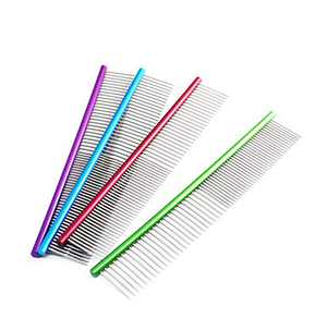MORECON 19cm Pet Comb Professional Steel Grooming Comb Cleaning Brush (Blue)