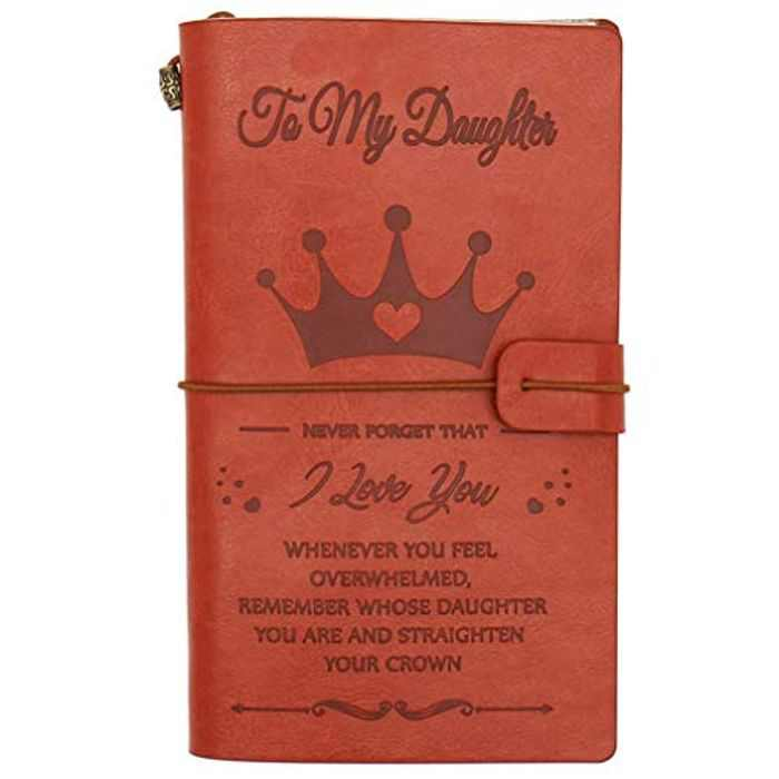 to My Daughter Graduation Birthday Gifts from Dad Mum - OMNIQI Personalised Retro Leather Journal Travel Diary Sketch Notebook, Father-Mother Encourage Message - Remember Whose Daughter You are