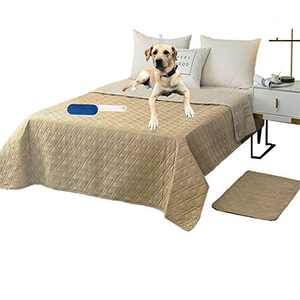 """RBSC Home Waterproof Blanket Dog Bed Cover Non Slip Large Sofa Cover Reusable Incontinence Bed Underpads for Pets Dog Cat Kids with 1 Brush(52"""" Beige)"""