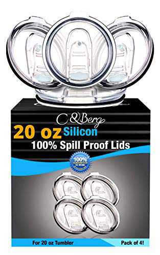 4 Silicon Lids 20/10 oz Spill Proof - No Leak Splash Proof Replacement Silicon Slider Locking Closure, 4 Lids for Tumbler, Fits on Renowned Brands; 3 Inch Diameter by C&Berg Model 2021