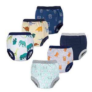 BIG ELEPHANT 6 Pack Baby Boys' 100% Cotton Toddler Potty Training Pants Reusable Waterproof Underwear