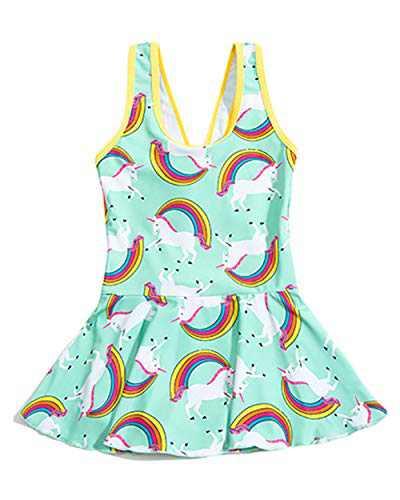JiaDuo Girls One Piece Swimsuit Rainbow Unicorn Swimwear Kids Beach Bathing Suit Green Medium/4-5 T