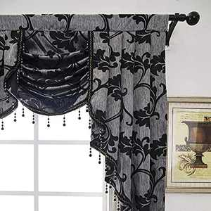 Black Waterfall Valances-NAPEARL Jacquard Curtain Valance for Living Room, Beaded Swag Valances for Window Treatments ( 1 Panel, 81-Inch Wide )