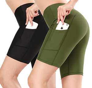 SILKWORLD High Waist Compression Running Yoga Shorts with Hidden Pockets, Black, Olive Green (Pack of 2), Small