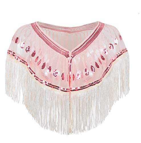 L'VOW Women's 1920s Shawl Wraps Roaring 20's Beaded Sequin Cape Fringed Gatsby Flapper Dress Accessories (Z - Pink)