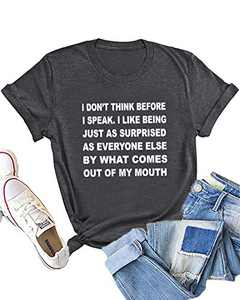Dauocie Womens I Don't Think Before I Speak Letter Print Short Sleeve T Shirt Casual Funny Surprised Mouth Graphic Tees Tops