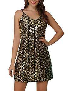 Kate Kasin Women's Glitter Sparkle Sequin Dress Sleeveless Adjustable Strap Party Clubwear Dress Gold