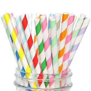 Multicoloured Paper Straw Striped Disposable for Party Drinking Juice Smoothie ( Pink Red Fruit Green Yellow Orange Blue Light Blue Lavender ) Average Number of 8 Colors Pack 400