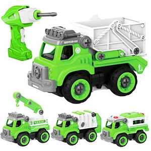 HAPTIME Take Apart Car Toys with Electric Drill & Wrench, Converts to Remote Control Truck, 4 in 1 Green City Vehicle, STEM Toy Great Gifts for 3 4 5 6 7 8 9 Years Old Kids