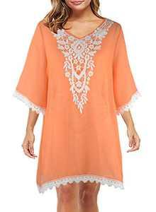 LEIYEE Women's Swimwear Cover Ups Orange Summer Beach Bikini Bathing Suit Crochet Mesh Sheer Dress