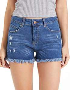 lianger Denim Jean Shorts for Women High Waist Slim Fit Frayed Raw Tassel Hem Classic Summer Ripped Cutoff Shorts Plus Size Navy-M