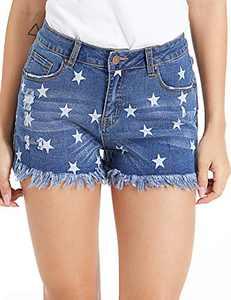 lianger Denim Jean Shorts for Women High Waist Stars Print Frayed Tassel Hem Classic Summer Ripped Cutoff Shorts Plus Size Starblue-XXL