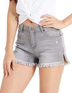 lianger Denim Jean Shorts for Women High Waist Vintage Slim Fit Frayed Raw Tassel Hem Summer Retro Ripped Cutoff Shorts Plus Size Gry-S Grey