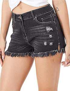 lianger Denim Jean Shorts for Women High Waist Slim Fit Frayed Raw Tassel Hem Classic Summer Ripped Cutoff Shorts Plus Size Black-M