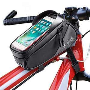 Intsun Bike Bag Bicycle Phone Front Frame Bag, Waterproof Bike Phone Mount Bag with Touch Screen Sun Visor, Large Capacity Phone Holder Fits Phones Below 7.5 Inches