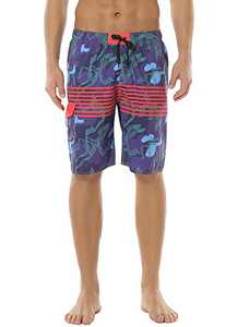 Meegsking Men's Swim Trunks Quick Dry Elastic Waist Drawstring Beach Board Shorts with Side Pockets