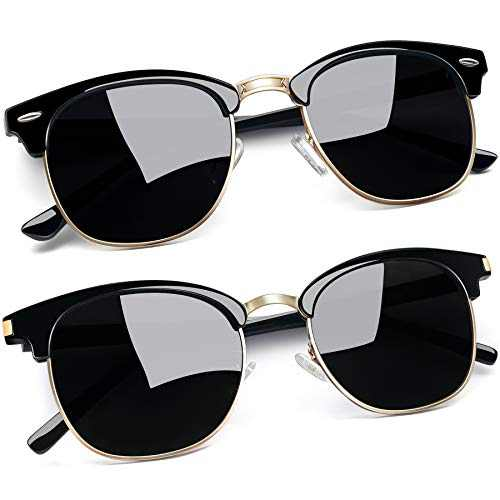 Joopin Square Semi Rimless Sunglasses Women Men Polarized Sun Glasses UV Protection (Gloss Black+Retro Black)