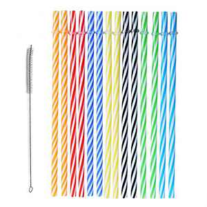 Senfhome Reusable Plastic Straws, 25 Pieces 9Inch L x 8mm W, Colorful Thick Replacement Drinking Straws for 30 oz & 20 oz Yeti, RTIC, Mason Jar, Starbucks with Cleaning Brush. (color 2)