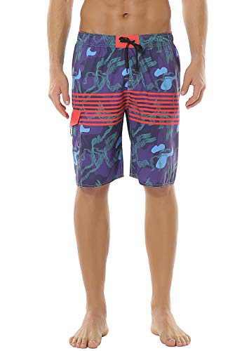 Meegsking Men's Swim Trunks Quick Dry Elastic Waist Drawstring Beach Board Shorts with Side Pockets