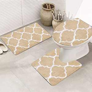 3 Pieces Bathroom Rugs Set, Non Slip Microfiber Bathroom Rugs Shower Mat with U-Shaped Contour Mat and Toilet Lid Cover, Super Absorbent Machine Washable Bath Mats for Tub, Shower, Bathroom (Brown)