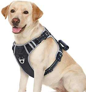 Idepet Dog Harness No-Pull Pet Harness for Small Dogs, 3 Metal D-Ring Adjustable Soft Reflective Dog Vest Harness with Handle for Large Dogs, XL