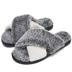 DL Women's Cross Band Slippers Soft Plush Furry Fleece Slip on Slippers for Open Toe Slip on House Slippers Indoor Outdoor House Shoes Spring Summer, Black, 9-10