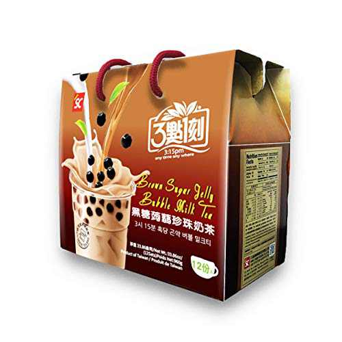 Brown Sugar Milk Tea with Konjac Jelly Topping - Authentic Bubble Tea, by 3:15pm, 33.86oz (Pack of 12)