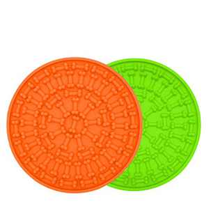 CHOKEBERRY Lick Mat for Dogs - 2020 Dog Slow Feeder Mat, Dog Distraction Device Perfect for Dog Calming Treats, Anxiety Relief, Slow Treat Dispensing Mat with Super Suction Cups (Green & Orange)