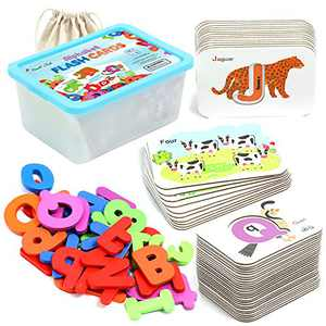 Letters and Numbers for Toddlers and Kids, 72 Pcs Set Preschool Alphabet Flashcards and Wooden Blocks for Boys and Girls Montessori Educational Learning, Learn Letters, Numbers, Colors, and Animals
