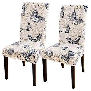 SearchI Dining Room Chair Covers Set of 2, Stretch Parsons Chair Slipcovers Super Fit Spandex Removable Washable Kitchen Chair Protector Cover for Dining Room, Hotel, Ceremony (Butterfly Pattern)