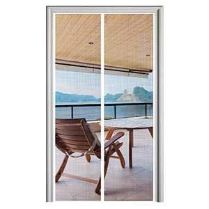 YUFER Magnetic Screen Door 36 x 82, Mesh Curtain Screen Door Sliding Door Screen with Magnet Heavy Duty- White