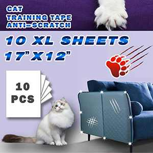 "Double Sided Deterrent Training Tape for Cat, 10 XL Sheets of Size 17"" x 12"" -Translucent Anti-Scratch Tape,Residue Free, Protector All Furniture/Couch/Sofa/Door/Wall/Mattress/Car Seat."