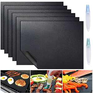 ACMETOP 6 Pack Large Grill Mat, Non Stick BBQ Grill Mat, Reusable Grill Mats with Two Oil Brushes, Easy to Clean Barbecue Grilling Accessories for Gas, Charcoal, Electric Grill - 19.69 x 15.75 Inch