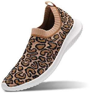MAIITRIP Walking Shoes for Women Leopard Slip on Tennis Work Non Slip Resistant Fall Sock Casual Comfort Laceless Lightweight Nursing mesh Knit Standing Flats Sneakers Size 5.5