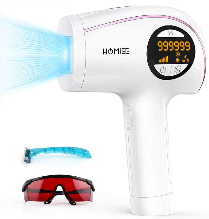 HOMIEE IPL Hair Removal, Home Use Painless Ice Cooling 999,999 Flashes Permanent Hair Removal for Women and Men - 5 Energy Levels Auto/Manual Mode Hair Removal for Face, Bikini, Legs, Arms, Armpits