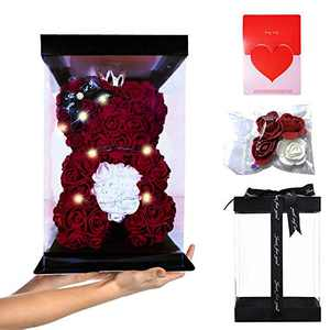 "ABOUND LIFESTYLE Luxury Rose Bear in a Box - Made of Artificial Foam Rose - OSO de rosas - Rose Teddy Bear (10"" Red/Purple/Pink/Blue Flower Bear +Decorative Light+Fully Assembled Gift Box+Card)"