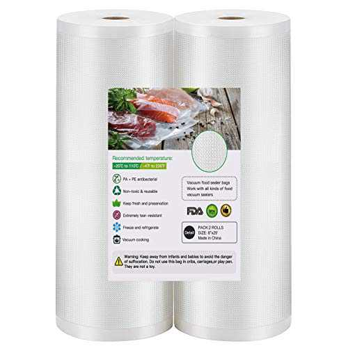 """Vacuum Sealer Bags, 2 Pack 8"""" x 25' Sous Vide Cooking Bags for Food Saver, BPA Free, Commercial Grade, Heavy Duty, Puncture Prevention, Great for Vacuum Storage, Meal Preparation or Sous Vide"""