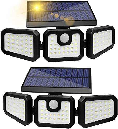 GSBLUNIE Solar Lights Outdoor, 3 Adjustable Heads 70 LED Solar Motion Lights Outdoor, IP65 Waterproof Security Lights Motion Outdoor Flood Lights for Front Door,Yard,Garage and Pathway(2 Pack)