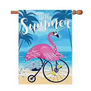 Hello Summer Flags 28 x 40 Inch Double Sided, Flamingo Burlap House Flag, Large Summer Yard Flag Decorative Banner Decoration for Outdoor