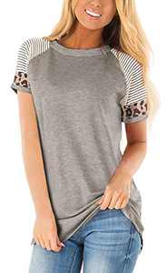 Charolin Women's Leopard Striped Color Block Tunic Top Casual Patchwork Short Sleeve T-Shirt Gray S