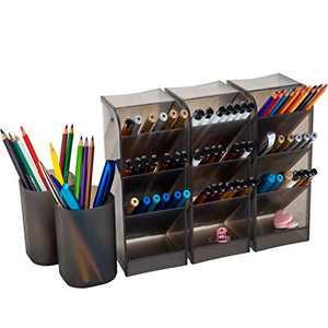 YAOYUE Large Size Durable Strong Set of 5Pcs Desk Organizer-Pen Holder Cup Makeup Marker Pencil Storage for Office School Home Supplies Teacher Translucent Black Color