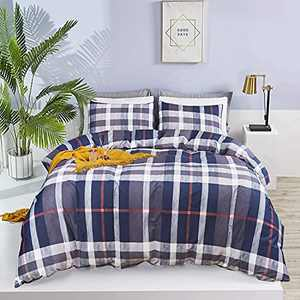 Wellboo Blue Plaid Comforter Sets Buffalo Check Bedding Set Colorful Square Women Men Quilt Adult Navy Grid King Geometric Tartan Comforters Red Striped Blanket Teen Gray Farmhouse Soft Health Durable