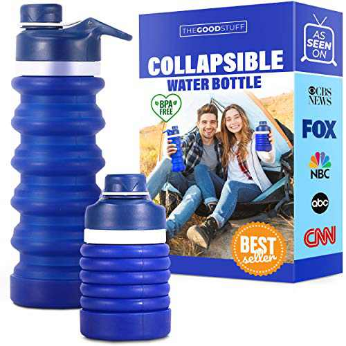 Collapsible Water Bottle BPA Free: Space Saving Drinking Bottle for Sports, Travel, and Gym