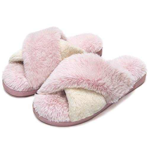 DL Women's Cross Band Slippers Soft Plush Furry Fleece Slip on Slippers for Open Toe Slip on House Slippers Indoor Outdoor House Shoes Spring Summer, Pink, 5-6