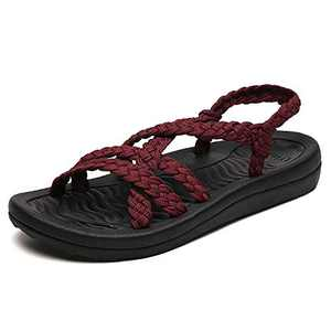 UTENAG Comfort Flat Sandals for Womens Summer Red Color Strappy Gradiator Dress Sandal Size 11