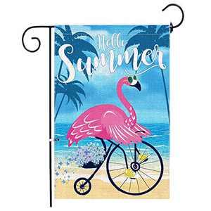 Hello Summer Flags 12 x 18 Inch Double Sided, Flamingo Burlap Garden Flag, Summer Yard Flag Decorative Banner Outdoor Decor Small Flag