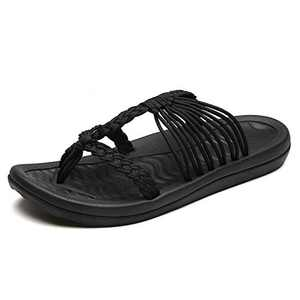 UTENAG Comfort Flat Sandals for Womens Summer Black Color Strappy Flip Flops Ladies Gradiator Dress Sandles Size 8