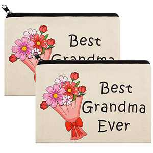 2 Pack Best Grandma Ever Makeup Bag- 9x6 inch Floral Bag Cosmetic Bag for Grandma Mother's Day Present Grandmother Birthday Present Travel Makeup Pouch Nana for Mom from Granddaughter