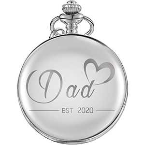 Dad EST 2020 Gifts Pocket Watch Presents for New Dad First Time Dad Expecting Father to Be (Silver)